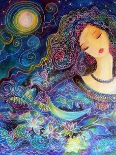 From all my plans I gained nothing.  In the end my heart broke its chains,  grabbed my soul,  and dragged it into your presence.  There I see no pettiness, no pain.  Every moment a new life enters,  born from the flowing compassion of yours.  - Rumi    image: Goddess of Water by Bonnie Biccard