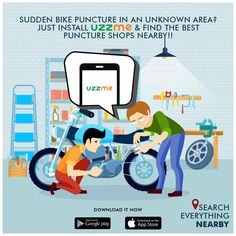 The monsoons surely bring a lot of potholes and lower tire pressure would mean frequent punctures. What will you do if it happens with you all of sudden? The first thing is enquiring about the nearest puncture shops, isn't it? This is where UzzMe comes into action.  #puncture #shops #bikes #easysearch Monsoon, Google Play, Bring It On, Family Guy, Shops, Action, Bike, Shit Happens, Search