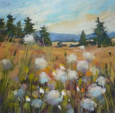 SUMMER Landscape Dandelion Puffs Original by KarenMargulisFineArt