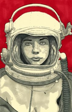 Lady Cosmonaut - Space Girl Pinup Print
