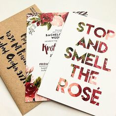 Stop and Smell the Rosé Boho Bachelorette Party Invitation