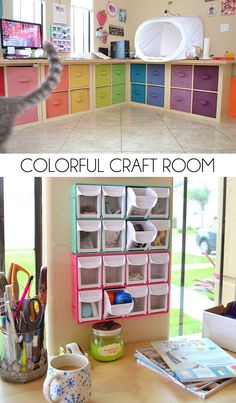 Colorful Craft Room Storage and Decor Check out all of this craft room storage in this awesome office makeover. And it's so lovely and colorful!Check out all of this craft room storage in this awesome office makeover. And it's so lovely and colorful! Craft Room Storage, Room Organization, Storage Ideas, Storage Bins, Storage Cubes, Shelving Ideas, Fabric Storage, Wall Storage, Craft Room Design