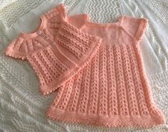 Beautiful Knit Starting Out Dress (Fancy Rib) ~ Free Patterns on Ravelry.com by Marianna Mel.  There are also some Mary Jane Booties to go along with this set.  Note:  This is a pattern variation of the original, so you need to visit both websites, Ravelry as well as Knitting Paradise.