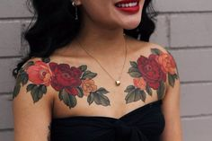All perfectly healed. On tanned skin. Yuuz flower on Margot. Cool Chest Tattoos, Chest Tattoos For Women, Chest Piece Tattoos, Pieces Tattoo, Love Tattoos, Beautiful Tattoos, Body Art Tattoos, Chest Tattoo Cover Up, Chest Tattoo Words