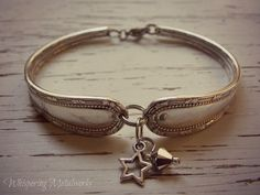Fork handle bracelet - pewter star charm - silver and clear Swarovski - Whispering Metalworks