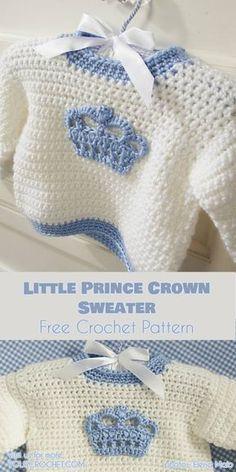 Crochet Baby Booties Little Prince - Crochet Crown Sweater Free Pattern - beautiful royal pattern Crochet Baby Cardigan Free Pattern, Crochet Baby Jacket, Crochet Baby Sweaters, Baby Sweater Patterns, Baby Patterns, Crochet Clothes, Baby Knitting, Crochet Patterns, Free Knitting