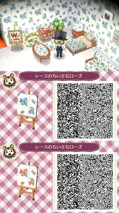 ACNL QR Code: Floral Patterns in Blue or Pink