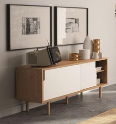 Temahome Dann, Modern Compact TV Cabinet in White/ Oak Finish, Sliding Doors