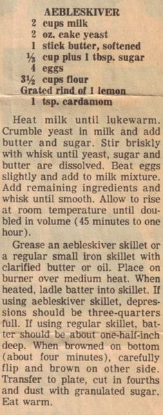 Aebleskiver Recipe Clipping | RecipeCurio.com