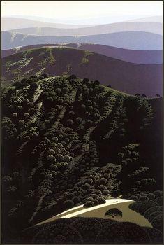 San Luis Obispo, 1999 by Eyvind Earle. Magic Realism. landscape