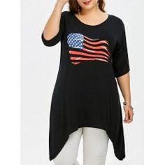 Plus Size American Flag Cold Shoulder Long T-Shirt Cheap Plus Size Clothing, Plus Clothing, Plus Size T Shirts, Plus Size Tops, Plus Size Dresses, Plus Size Outfits, Trendy Fashion, Womens Fashion, Plus Size Swimwear