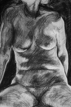 "Clara Lieu, Student Artwork, RISD Foundation Studies, Freshman Drawing, Torso drawing from life, charcoal on paper,  24"" x 18"""