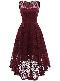Market In The Box Women's Lace Dress Vintage Floral Sleeveless Hi-Lo Formal Party Dress Asymmetrical Cocktail Formal Swing Dress Lace Bridesmaids, Short Bridesmaid Dresses, Short Dresses, Lace Dresses, Homecoming Dresses, Dress Lace, Sexy Dresses, High Low Prom Dresses, Sleeveless Dresses