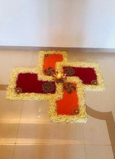 Wedding Simple Outdoor Altars Ideas For 2019 Rangoli Designs Latest, Rangoli Designs Flower, Rangoli Patterns, Colorful Rangoli Designs, Rangoli Ideas, Rangoli Designs Diwali, Flower Rangoli, Beautiful Rangoli Designs, Rangoli With Flowers