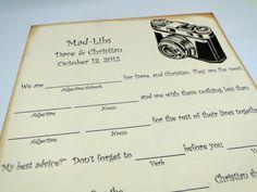 Wedding Guest Book Alternative MadLib Cards  by TheTrendySparrow, $40.00