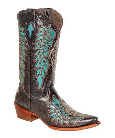 Look at this Pecos Bill Blue & Turquoise Wing Embossed Leather Cowboy Boot - Women on #zulily today!