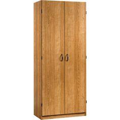 Sauder Beginnings Storage Cabinet with Four Adjustable Shelves, Highland Oak...possibility for the craft room.