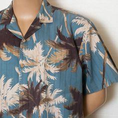 Available on Ebay $34.95 XL VINTAGE PARADISE FOUND PALM TREES HAWAIIAN ALOHA CAMP SHIRT BLUE BROWN USA MADE