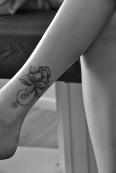 Small Lotus Flower Tattoo On Ankle