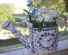 Mosaic Watering Can Vase