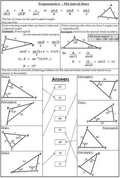 Trigonometry - Law Of Sines Worksheet Activity   math jinxed   Law ...
