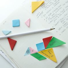 Step out from the boring world of square shaped sticky notes and add some versatility with these Tangram Sticky Notes on your desktop. They come in differe
