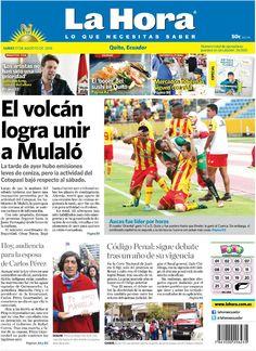 """Acá nuestra portada de hoy, 17 de agosto del 2015. Tema destacado:"""" El volcán logra unir a Mulaló""""."""