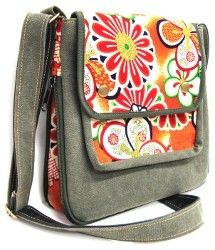 Bag made of heavy canvas and recycled Kimono fabric