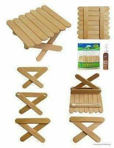 Popsicle Picnic Table (Art Projects for Kids) My love affair with popsicle sticks continues. This time I've found a way to use the mini sticks to make a picnic table. The best news? No cutting! Just stock up on these mini sticks and little Aleene Popsicle Stick Crafts, Popsicle Sticks, Craft Stick Crafts, Craft Sticks, Popsicle Stick Birdhouse, Fairy Furniture, Barbie Furniture, Dollhouse Furniture, Projects For Kids