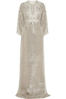 Oscar de la Renta Embellished metallic silk kaftan | NET-A-PORTER