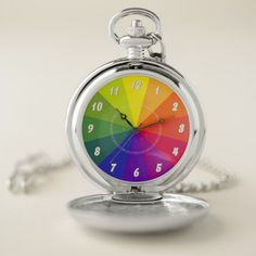 Color Wheel VZS2 Pocket Watch - red gifts color style cyo diy personalize unique