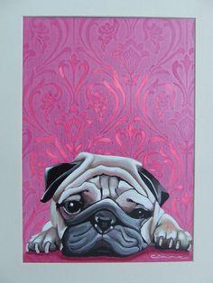 'Pink Pug' by carolyn donohoe, via Flickr (Acrylic on board)