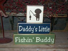 fishing decor | ... Fishing Buddy Primitive Wood Sign Blocks Nursery Decor Kids Room