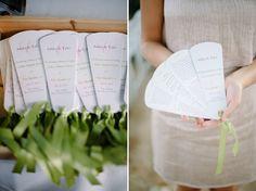 I love these fan programs especially for a courtyard wedding