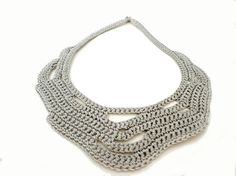 Silver Grey Summer Fashion Crochet  Bib by IremOzerdemDesigns, $42.00