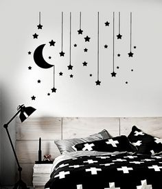 Vinyl Wall Decal Stars Crescent Moon Dream Bedroom Ideas Stickers - Products - Home decor interests Simple Wall Paintings, Creative Wall Painting, Wall Painting Decor, Diy Wall Art, Bedroom Wall Designs, Wall Decals For Bedroom, Vinyl Wall Decals, Bedroom Decor, Bedroom Ideas