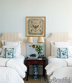 pretty guest room...I want 1 of those Ft. Bragg pillows to frame!