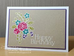handmade birthday card from Neet & Crafty ... kraft panel ... white embossing ... bouquet with marker coloring ... clean and simple ... like it!