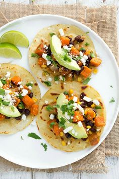 Summer date night dinner.  Honey-Lime Sweet Potato, Black Bean and Corn Tacos