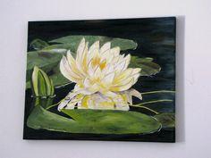 Original oils on stretched canvas pond lily pad by ArtByKatieK, $95.00
