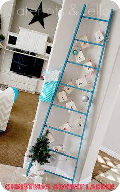 Make A Diy Holiday Ladder -- To Display Cards Or Advent Calendars {christmas…