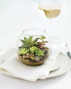 Green Wedding Favors  These mini terrariums make chic table decor when grouped en masse -- and they double as favors, too! Just place sand and rocks in the bottom of a fishbowl votive holder. Carefully set small succulents among the rocks -- securing them, if necessary, with toothpicks -- and quench their thirst with a dropper.