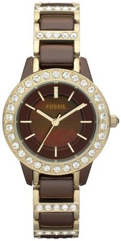 Fossil Jesse Ceramic Watch - Brown with Gold-Tone Fossil. $199.75. 34mm Case Diameter. Mineral Crystal. 50 Meters / 165 Feet / 5 ATM Water Resistant. Quartz Movement