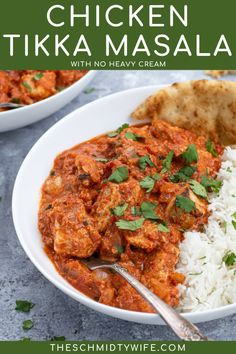 It has become a staple of popular Indian takeout but making this Chicken Tikka Masala Recipe at home will satisfy all those restaurant cravings! Surprisingly lightened up with no heavy creams or added sugars just healthy staples like chicken breasts, yogurt, and tomatoes this is a comfort food you can feel good about eating! Chicken Tikka Masala No Heavy Cream | Tikka Masala Recipe Easy Chicken Dinner Recipes, Grilled Chicken Recipes, Turkey Recipes, Easy Chicken Tikka Masala, Indian Takeout, Masala Recipe, Healthy Meals, Healthy Food, Healthy Recipes