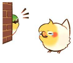 Coca by ErA sticker Birds 2, Cute Birds, Cockatiel, Budgies, Cute Little Drawings, Cute Drawings, Cute Kawaii Animals, Funny Birds, Bird Drawings