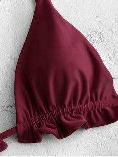 Thong bikini set with frills - Red Wine L- Conjunto de bikini de tanga con volantes – Vino Tinto L Thong bikini set with frills – Red Wine L - Bikini Swimwear, Bikini Set, Swimsuits, Thong Bikini, Fashion Sewing, Diy Fashion, Pants Pattern, Bra Pattern, Costura Fashion