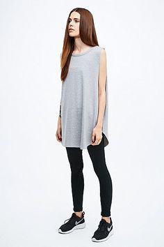 Sparkle & Fade Curved Hem Tank in Grey - Urban Outfitters