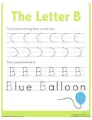 First, kids trace lines on this prekindergarten writing worksheet to strengthen the fine motor skills needed to form the letter B. Then they trace the letter B!