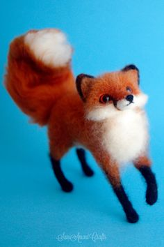 OOAK Needle felted red fox miniature original by SaniAmaniCrafts