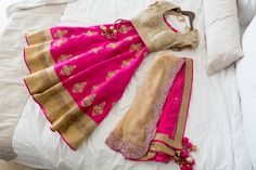 Pink and Gold Bridal Lehenga by @Poshaac Couture & Accessories |  Indian Fusion Wedding | Adrienne Fletcher Photography @adrinfletcher